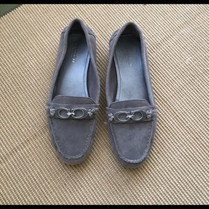 Coach Gray Suede Fortunata Loafers